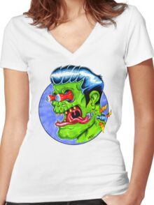 Freaky Frankie (Color) Women's Fitted V-Neck T-Shirt