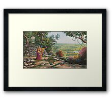Radha and Krishna on Govardhan hill Framed Print