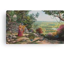 Radha and Krishna on Govardhan hill Canvas Print