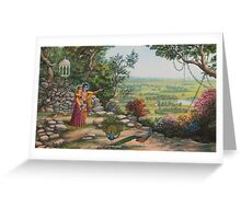 Radha and Krishna on Govardhan hill Greeting Card