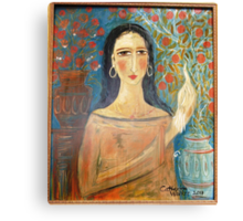 lady with clay jars Canvas Print