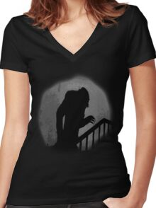Nosferatu Silhouette Women's Fitted V-Neck T-Shirt