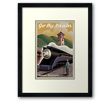 Vintage Union Train Station Framed Print