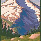 Vintage Mount Jefferson Travel Poster by mitchfrey