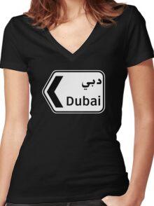 Dubai, Traffic Sign, United Arab Emirates Women's Fitted V-Neck T-Shirt