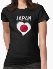 Japan - Japanese Flag Heart & Text - Metallic T-Shirt