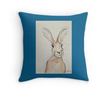 Hop Hare- Ears Pricked Up Throw Pillow
