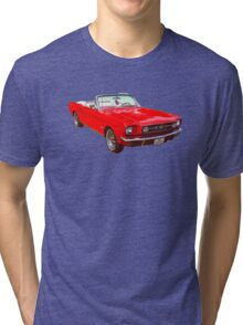 1965 Red Ford Mustang Convertible Tri-blend T-Shirt