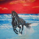"""BLACK BEAUTY ON THE BEACH"" by Manuel Sanchez"