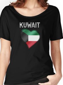 Kuwait - Kuwaiti Flag Heart & Text - Metallic Women's Relaxed Fit T-Shirt