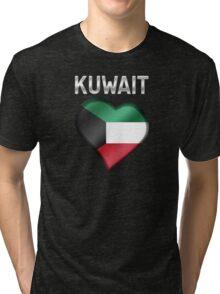 Kuwait - Kuwaiti Flag Heart & Text - Metallic Tri-blend T-Shirt