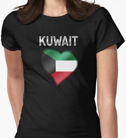 Kuwait - Kuwaiti Flag Heart & Text - Metallic Womens Fitted T-Shirt