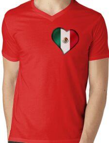 Mexican Flag - Mexico - Heart Mens V-Neck T-Shirt