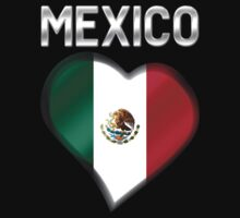 Mexico - Mexican Flag Heart & Text - Metallic Baby Tee