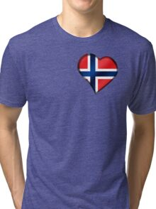Norwegian Flag - Norway - Heart Tri-blend T-Shirt