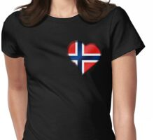 Norwegian Flag - Norway - Heart Womens Fitted T-Shirt