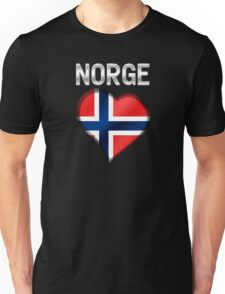 Norge - Norwegian Flag Heart & Text - Metallic Unisex T-Shirt
