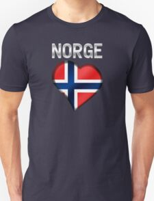 Norge - Norwegian Flag Heart & Text - Metallic Unisex T-Shirt