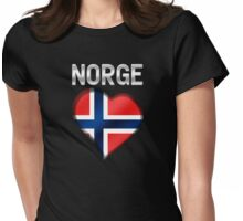 Norge - Norwegian Flag Heart & Text - Metallic Womens Fitted T-Shirt