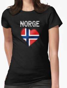 Norge - Norwegian Flag Heart & Text - Metallic T-Shirt