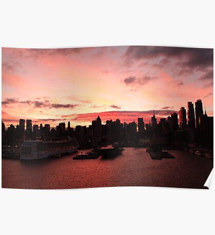 New York City skyline at sunrise photography Poster