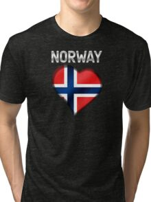 Norway - Norwegian Flag Heart & Text - Metallic Tri-blend T-Shirt