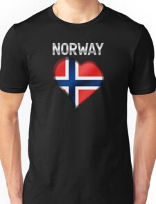 Norway - Norwegian Flag Heart & Text - Metallic Unisex T-Shirt