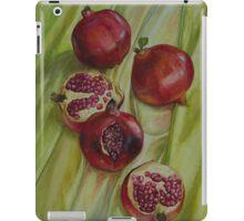 Pomegranates on green yellow silk iPad Case/Skin
