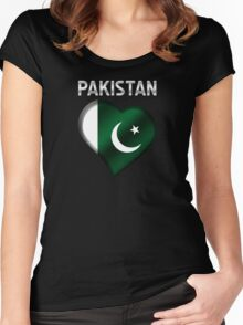 Pakistan - Pakistani Flag Heart & Text - Metallic Women's Fitted Scoop T-Shirt