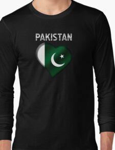 Pakistan - Pakistani Flag Heart & Text - Metallic Long Sleeve T-Shirt