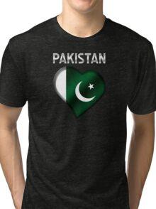 Pakistan - Pakistani Flag Heart & Text - Metallic Tri-blend T-Shirt