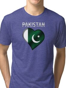 Pakistan - Pakistani Flag Heart & Text - Metallic Tri-blend T-Shirt