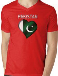 Pakistan - Pakistani Flag Heart & Text - Metallic Mens V-Neck T-Shirt
