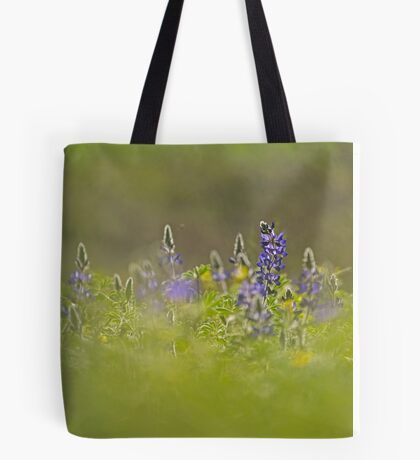 Selective focus on a cluster of Blue lupin (Lupinus pilosus) Tote Bag