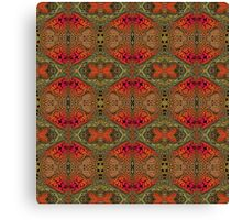 Whimsical pink, orange and green retro pattern Canvas Print