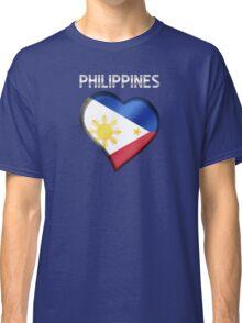 Philippines - Filipine Flag Heart & Text - Metallic Classic T-Shirt