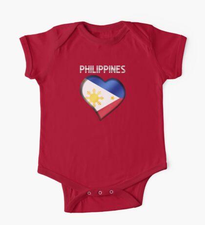 Philippines - Filipine Flag Heart & Text - Metallic One Piece - Short Sleeve