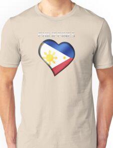 Philippines - Filipine Flag Heart & Text - Metallic Unisex T-Shirt