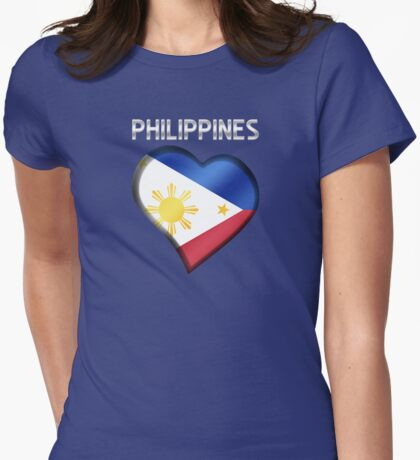 Philippines - Filipine Flag Heart & Text - Metallic Womens Fitted T-Shirt