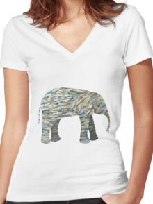 Elephant Paper Collage in Gray, Aqua and Seafoam Women's Fitted V-Neck T-Shirt