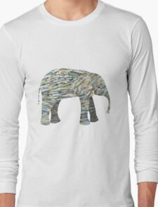 Elephant Paper Collage in Gray, Aqua and Seafoam Long Sleeve T-Shirt