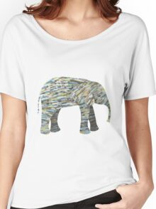 Elephant Paper Collage in Gray, Aqua and Seafoam Women's Relaxed Fit T-Shirt