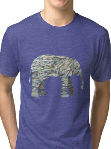 Elephant Paper Collage in Gray, Aqua and Seafoam Tri-blend T-Shirt
