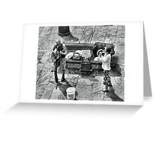 Street Musicians, Playing For Bucket Money Greeting Card