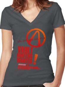 Borderlands 2 Vault Hunters Wanted! Women's Fitted V-Neck T-Shirt
