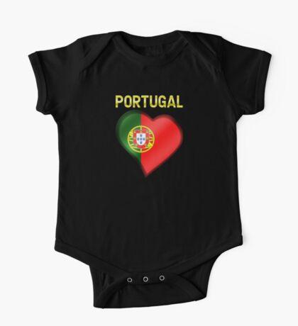 Portugal - Portuguese Flag Heart & Text - Metallic One Piece - Short Sleeve