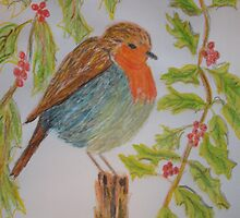 Robin Christmas card by GEORGE SANDERSON