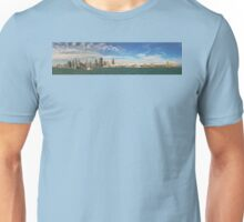 City - Chicago IL -  Chicago Skyline & The Navy Pier BW Unisex T-Shirt