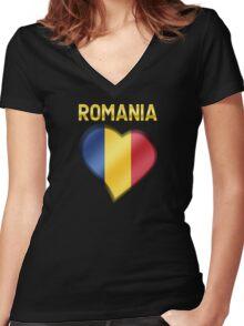 Romania - Romanian Flag Heart & Text - Metallic Women's Fitted V-Neck T-Shirt