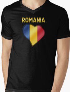 Romania - Romanian Flag Heart & Text - Metallic Mens V-Neck T-Shirt
